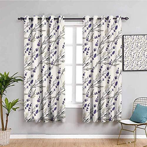 ZLYYH Cortinas Para Dormitorio Blanco lavanda planta fresco 132x183cm Cortinas Dormitorio Opacas Suaves con Ojales Térmicas Aislantes Resistente a la Suciedad Rayos UV 2 Piezas Proteger Su Privacidad