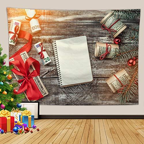 Kihomedy - Tapiz de Navidad hippie para colgar en la pared, cuaderno y dinero con cinturón rojo gris tapiz niña 260 x 240 cm
