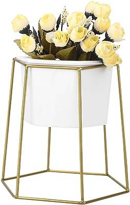 Estante de cerámica del pote de Flor, Maceta Blanca Interior con el Estante geométrico del Soporte de exhibición del Tenedor del Metal(#1)