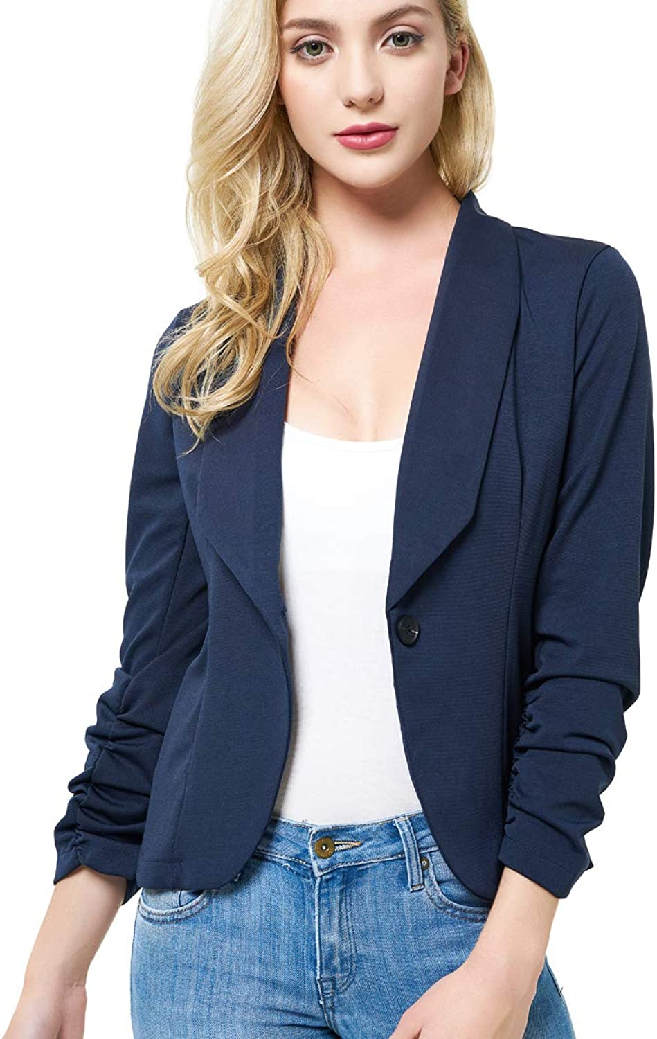 IRealy Women Open Front Blazers Stretch 3 4 Ruched Sleeve Blazer Classic Lapel Slim Work Office Jackets