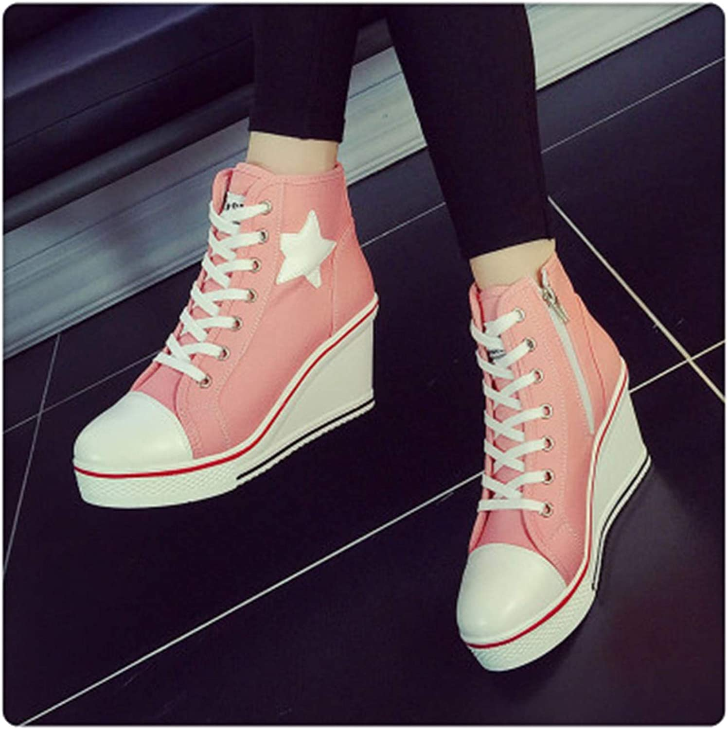GLOPY& Plue Size 8cm Height Increasing Wedges Lace Up Flats Casual Ankle High Sneakers