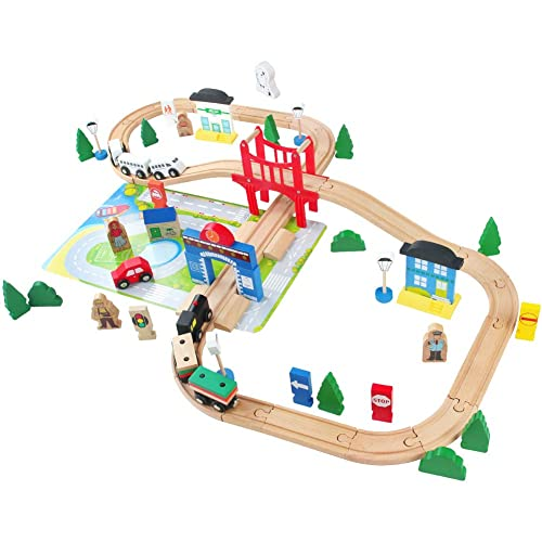 Wooden Train Building Blocks Set Classic Educational Toys For Kids Toddler Games