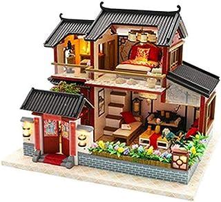 XYZMDJ Miniminiatyrdockhus, montering av hus med möbler, gör-det-själv montering hus, byggmodellmontering Siheyuan handgjo...