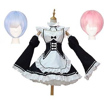 (LuluLAB) reゼロから始める異世界生活 レム ラム コスプレ 衣装 セット (ウィッグ 2個 + 衣装) (M)