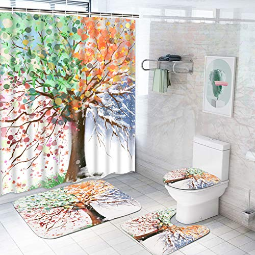 Dekoresyon 4 Pcs Colorful Tree Shower Curtain Sets with Non-Slip Rug, Toilet Lid Cover and Bath Mat, Watercolor Tree Shower Curtain with 12 Hooks, Waterproof Colorful Blooming Branches Shower Curtain