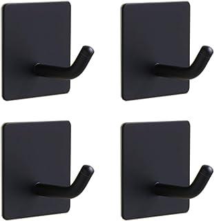 QFYHTDR 4パック 粘着フック 高耐久 壁フック 防水 ステンレススチールフック コート/帽子/タオル/ローブフックラック 壁取り付け キッチン バスルーム ホーム (ブラック)