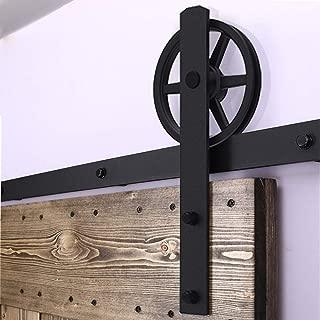 Herraje Puerta Corredera 200cm/6.6ft Negro, CCJH Riel Puerta Corredera Armario, Adecuado para 1 Puerta de 100 cm de Ancho [I Shape Big Wheel Hanger]
