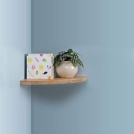 Estantería de esquina flotante de pared, bambú, estante de baño rústico, estante de pared vintage para baño, sala de estar, dormitorio (color claro, ...