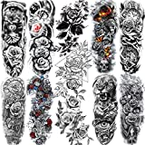 11 Sheets NEZAR Sexy Big Rose Flower Full Arm Temporary Tattoos For Women Compass Clock Fake Tattoo Sticker Long Large Temporary Tattoo Sleeves Tribal Waterproof Twisted Chain Temp Tatoo Paper Skull