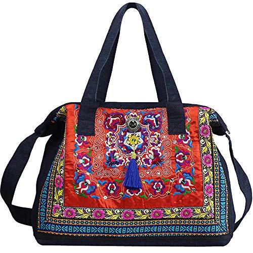 GangKun etnische stijl, retro, Chinese stijl, borduurwerk, schoudertas, cowboy, etnische tas, handtas, rood, liefhebbers