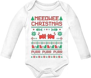 Tstars Meeowee Christmas Ugly Sweater Design Cute Xmas Infant Baby Long Sleeve Bodysuit