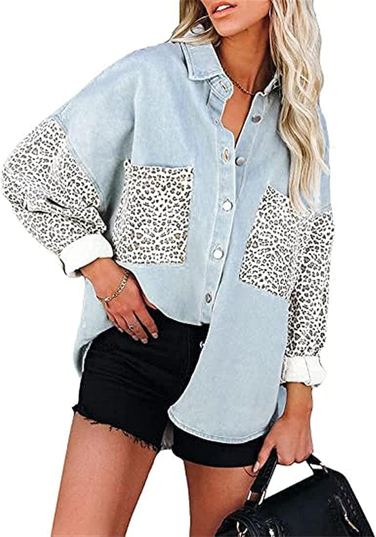 Fensajomon Womens Leopard Contrast Oversized Jean Jacket Long Sleeve Button Down Denim Jacket Coat with Pockets