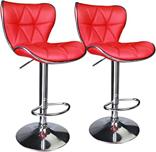 Stupendous Amazon Com Red Leather Barstools Home Bar Furniture Unemploymentrelief Wooden Chair Designs For Living Room Unemploymentrelieforg