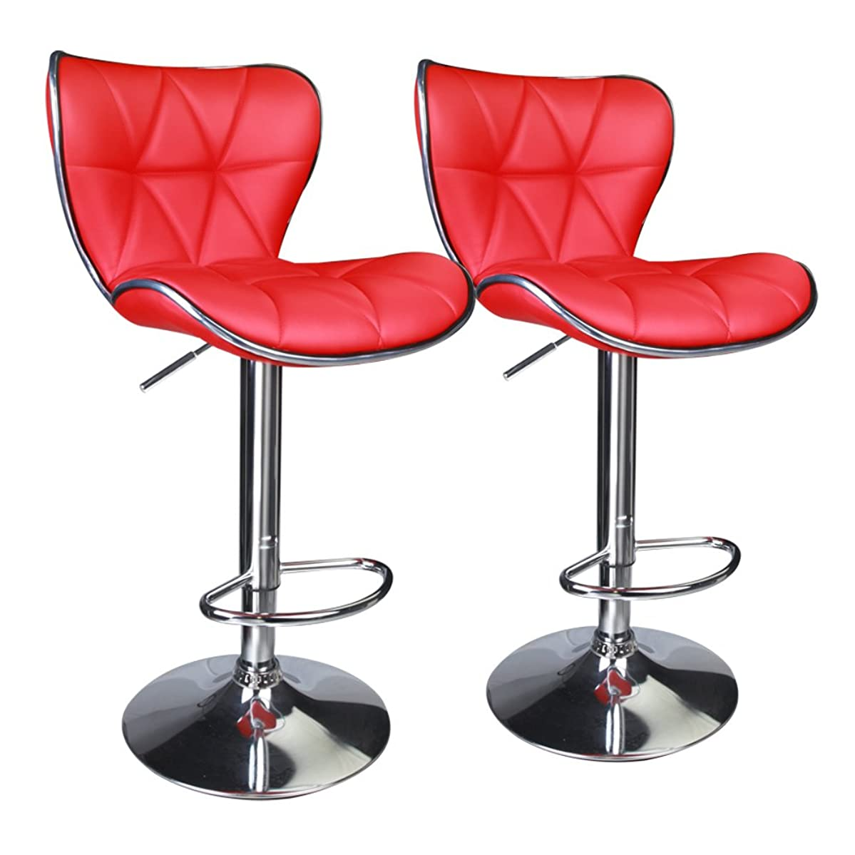 Leopard Shell Back Adjustable Swivel Bar Stools, PU Leather Padded with Back, Set of 2 (Red)