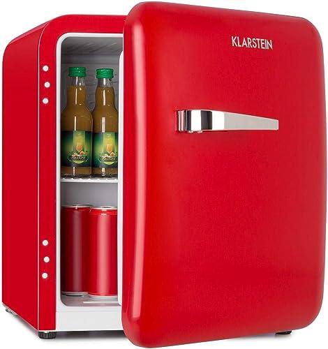 KLARSTEIN Audrey Mini réfrigérateur rétro - Mini Réfrigérateur, Réfrigérateur à Boissons, Classe d'efficacité énergét...