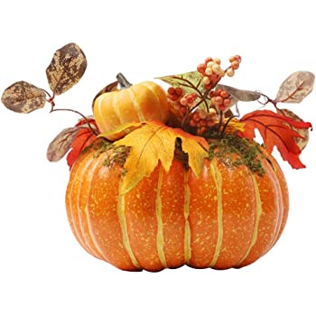 """winemana Thanksgiving Decorations Artificial Pumpkin with Maple Leaves,8.8"""" x 8.2"""" Bright Orange Foam Pumpkin Clothing Maple Leaves Fall Autumn Decor for Office Bedroom Kitchen Party Harvest Day"""