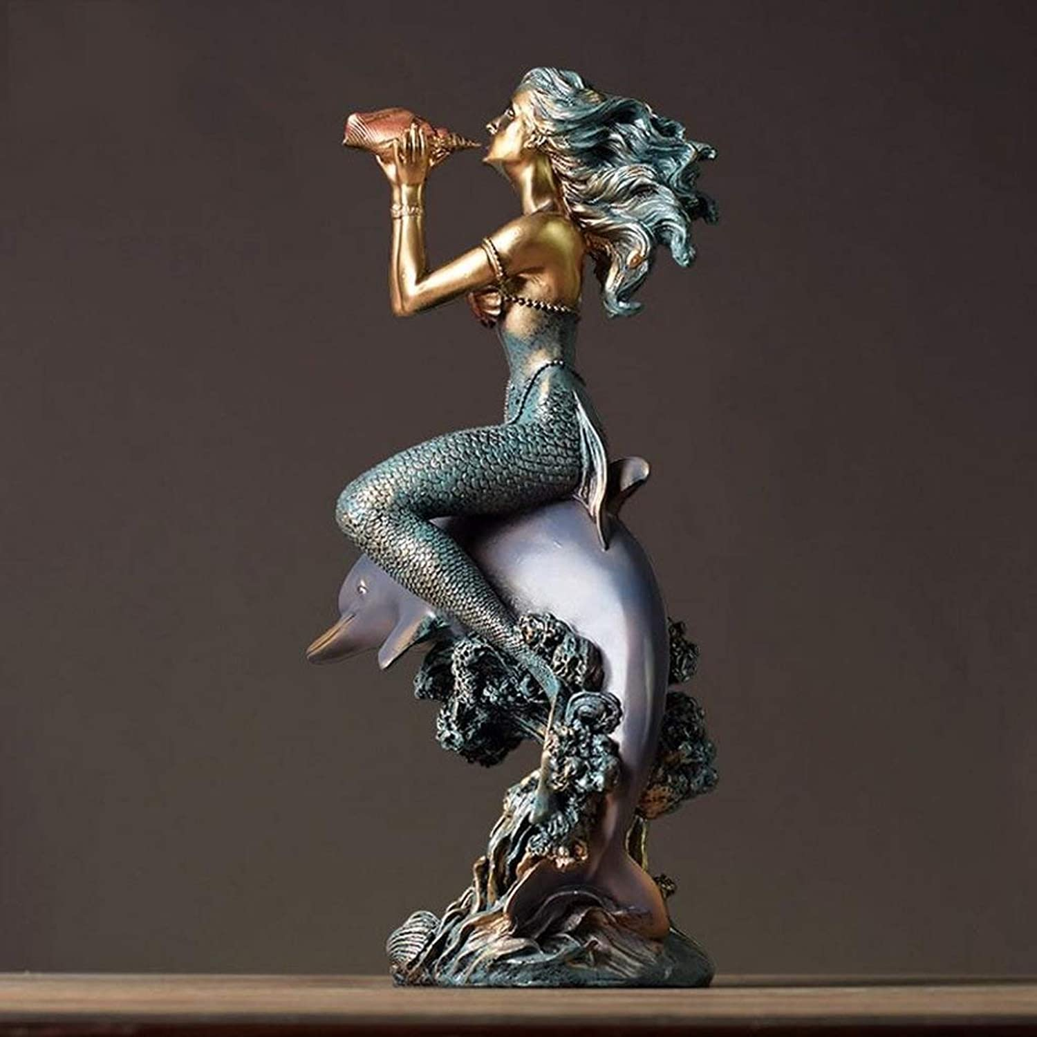 NSHUN Modern Mermaid Sculpture Art, Resin Crafts Home Accessories Living Room Wedding Gift Bedroom Furnishings Decorative Ornaments