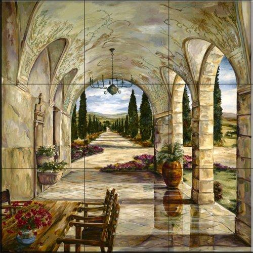 Mural pintado - Cypress Lane- por Karen Stene - Cocina peto/Baño de ducha