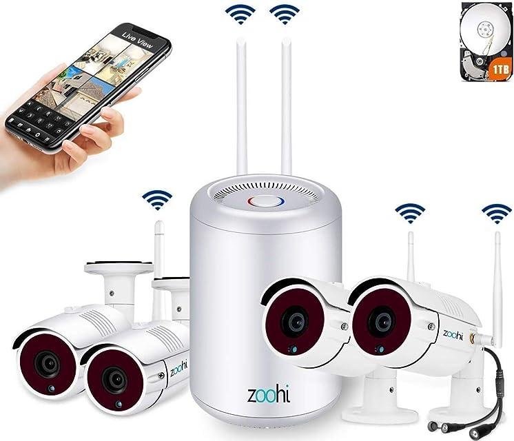 [2020 Más Reciente] Zoohi Kit Cámaras de Vigilancia Inalámbricas 4CH 1080P Sistema de Seguridad Inalámbrico con Disco Duro de 1TB 4 Cámaras de Seguridad WiFi Exterior Visión Nocturna Acceso Remoto