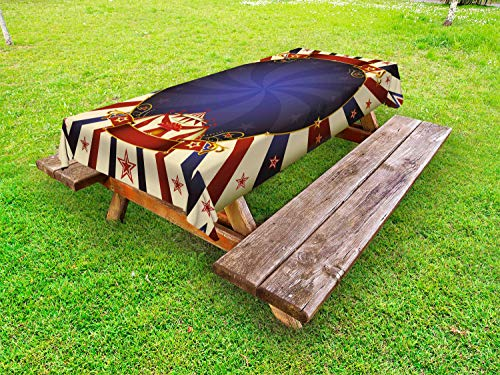 Ambesonne Vintage Outdoor Tablecloth, Circus Theme Retro Carnival Tent Ribbon Poster Like Image, Decorative Washable Picnic Table Cloth, 58