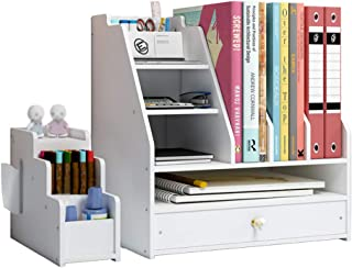 Desk Tidy Organiser, DIY White Office Stationery Desktop Storage Holder Sorter with Drawer for Home, Office and School(PB04)