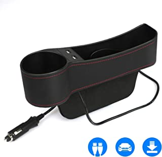 Car Seat Pockets PU Leather Car Console Side Organizer Seat Gap Filler with Big Cup Holder, 2 USB Chargers, for Driver Side