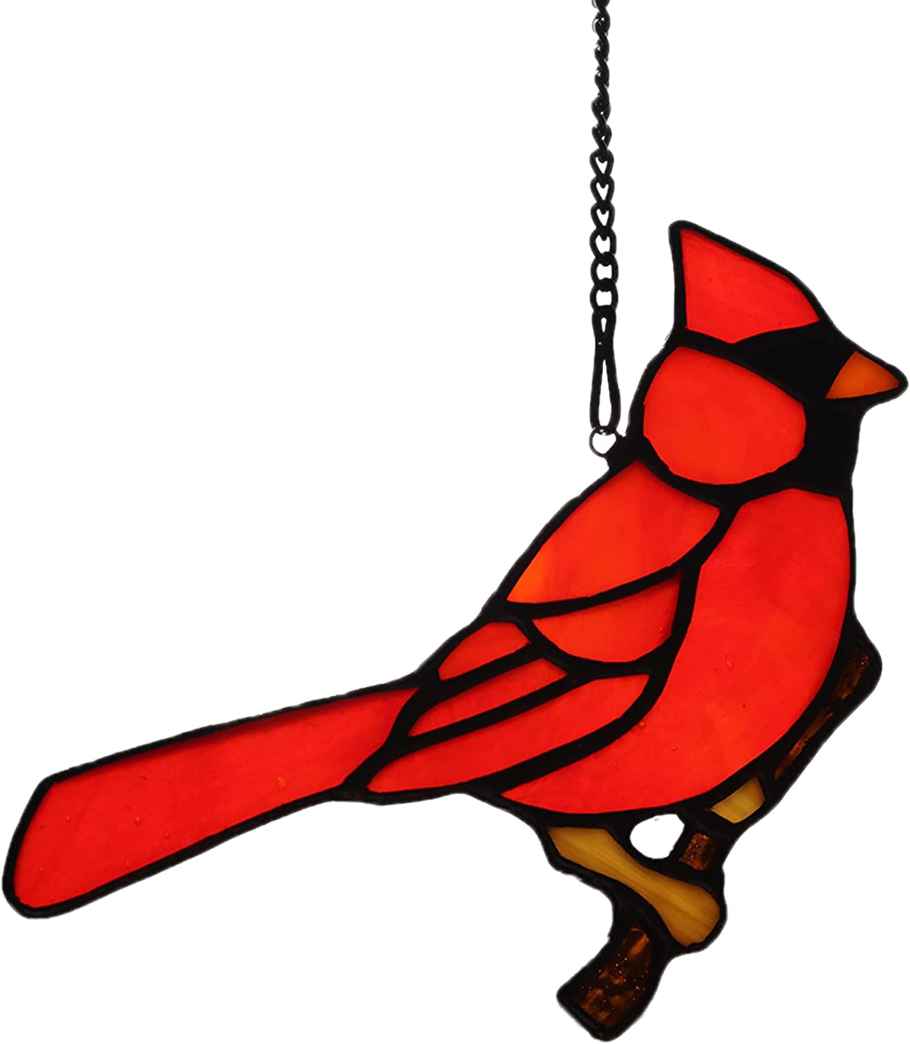 HAOSUM Red Cardinal Bird on Max 74% OFF Glass hangings Stained Branch All stores are sold Window