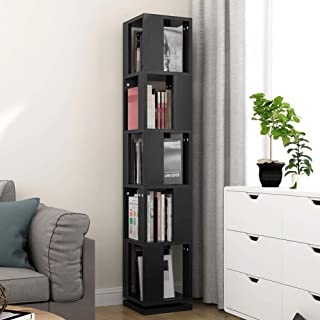 Tribesigns 5-Tier Rotating Bookshelf, Modern Corner Bookcase for Home Office (Black)