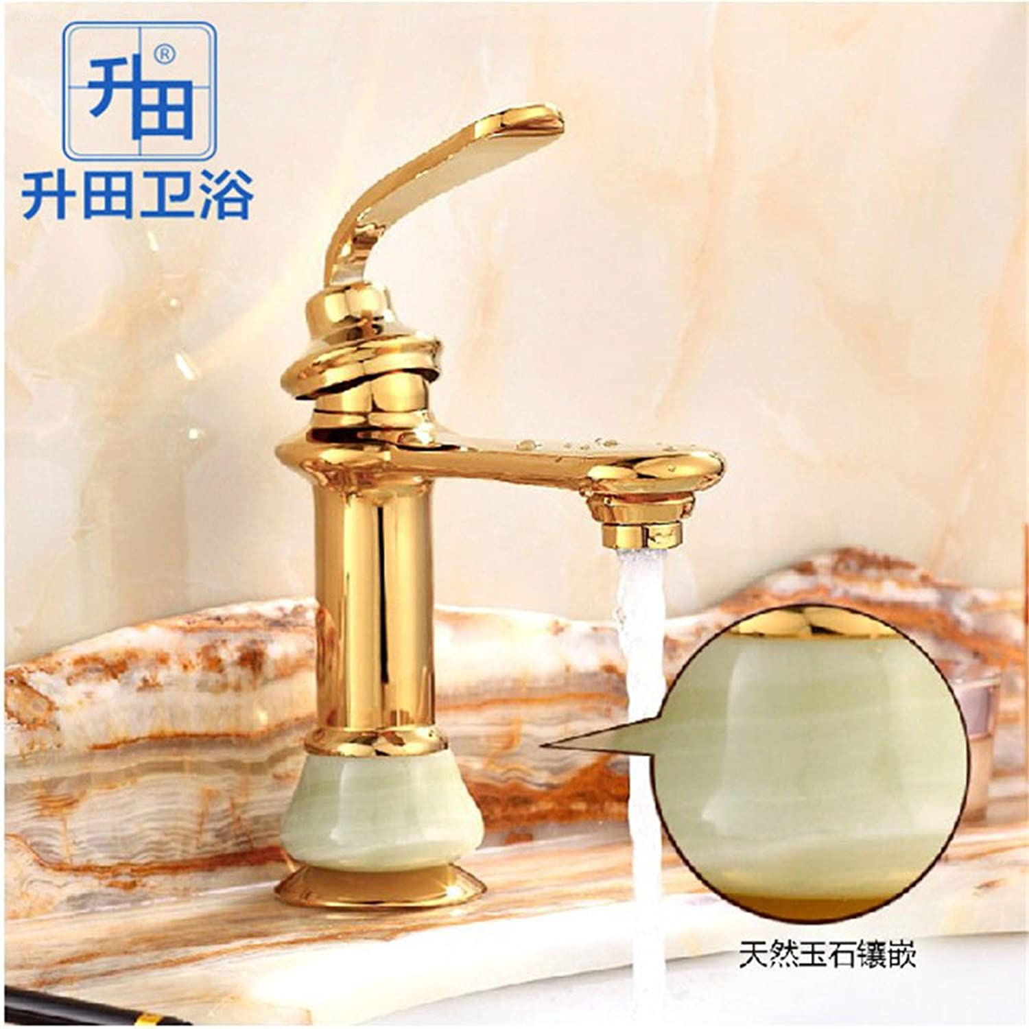 ETERNAL QUALITY Bathroom Sink Basin Tap Brass Mixer Tap Washroom Mixer Faucet On the tub faucet full copper golden Jade basin faucet single hole cold and hot blond Kitche
