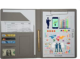 Business Portfolio Folder,Pigyanting PU Leather Portfolio Folder Document Organizer, Business Card Holder & Writing Pad Pocket Folder for Men & Wome(Blue)