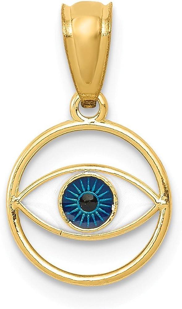 Black Bow Jewelry Max 73% OFF 14K Yellow Gold Round Very popular Eye Enamel Blue Evil