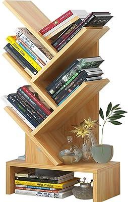 ALVIS Bookshelf Simple Bookshelf Floor-Standing Living Room Economy Simple Shelf Student Bookcase Creative Space Tree Shape Bookshelf Book shelfs (Color : Wood Color)