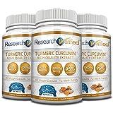 Research Verified Turmeric Curcumin - Vegan with BioPerine, 95% Standardized Curcuminoids - Natural Anti-Inflammatory, Antioxidant, Pain Relief and Antidepressant - 3 Bottles (3 Months Supply)