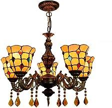 European Retro Creative Tiffany Stained Glass Chandelier Bar Club Living Room Dining Room Bedroom Twilight 5 Head Chandeli...