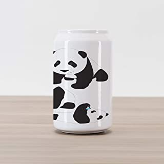 Ambesonne Zoo Cola Can Shape Piggy Bank, Drawing of Baby Pandas Milk Bottle Fly Animal Child Mammal, Ceramic Cola Shaped Coin Box Money Bank for Cash Saving, Charcoal Grey White