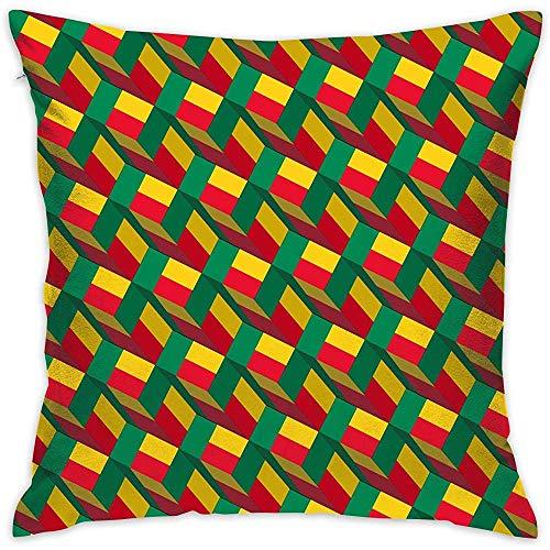 Jonycm Kussensloop Benin Vlag Art Patroon Vierkant Kussenslopen Kussenslopen voor Vrouwelijke en Mannelijke Slaapbank Slaapkamer Auto es