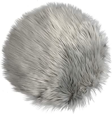 IVON Faux Fur Rug, Round Gray Area Fluffy Mat for Livingroom, Decor for Photos - 15.5 inches