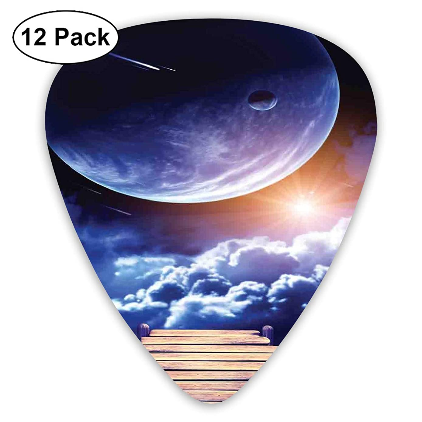 Guitar Picks - Abstract Art Colorful Designs,Watching A Meteor Rain From A Wooden Dock Under The Sun Rays Image,Unique Guitar Gift,For Bass Electric & Acoustic Guitars-12 Pack