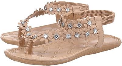 ZODOF Sandalias de Mujer Sandalias de Playa de Verano Bling Rhinestone Bohemia Sandalias Planas para Encantador