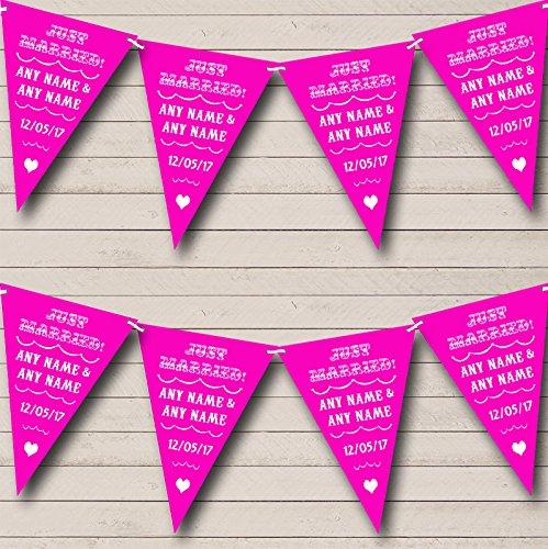 Vintage net getrouwd Hot helder roze gepersonaliseerde bruiloft Bunting Banner slinger Large