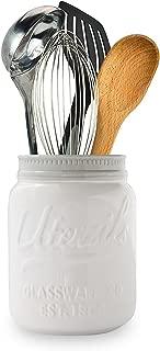 El Tarro de Boca Amplia deComfify - Utensilios de Cocina Decorativos, cerámica Resistente a los Golpes, Apto para lavavajillas Blanco, Tamaño Grande 7