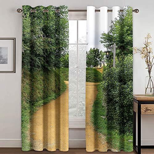 Bishilin Mörkläggningsgardin vardagsrum uppsättning av 2 sätt träd, gardiner ogenomskinliga sovrum öljetter 274 x 244 cm