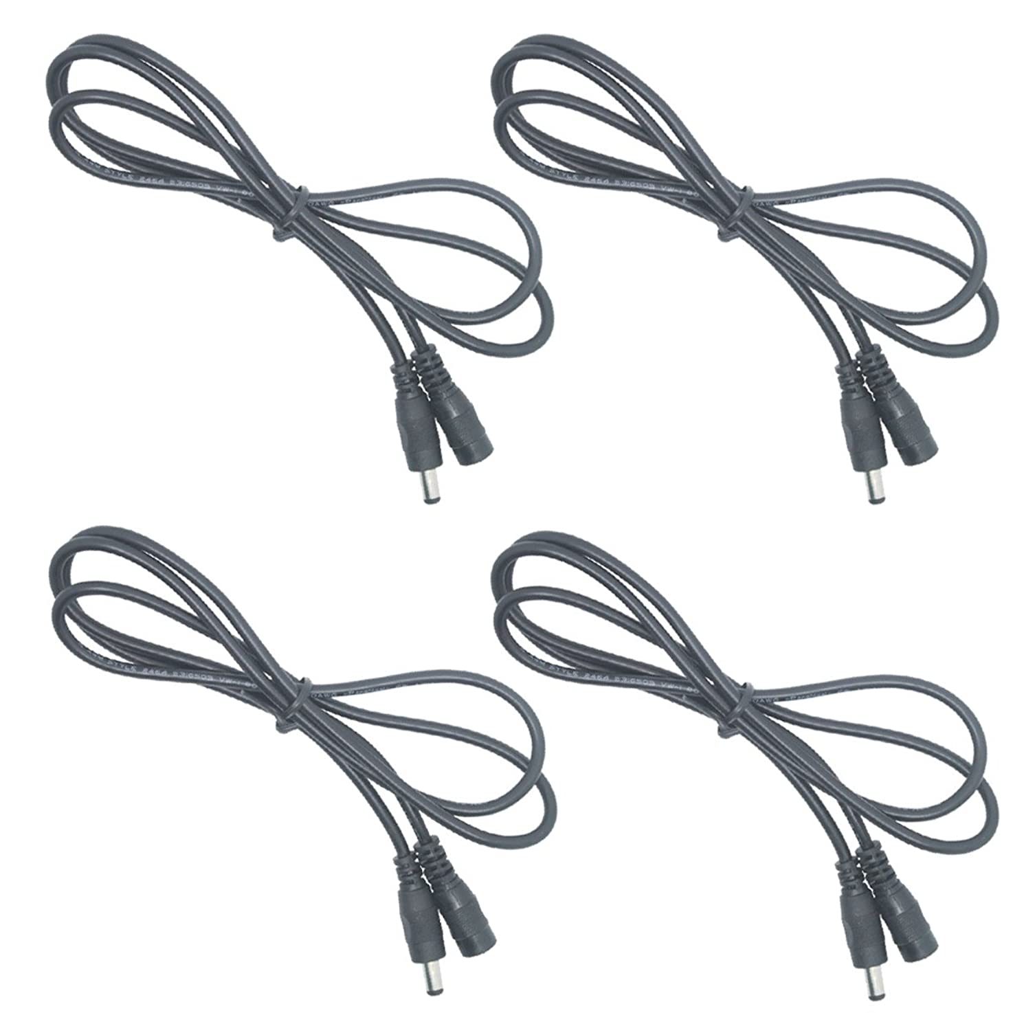 Litever Extension Cable 20 awg 3.3 ft/1Meter, 5.5mm x 2.1mm DC Plugs, Male to Female, for Power Adaptor for 5~24VDC LED Light Strips, CCTV; Copper Core Extension jumper Cord-[4-Pack] espxywdreymdu7