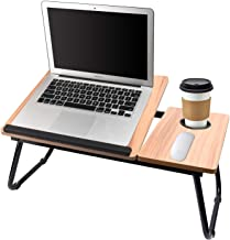 Laptop Table for Bed Portable Computer Tray for Bed,Foldable Bed Desk for Laptop Multi Tasking Laptop Bed Tray(Nut-Brown) ...