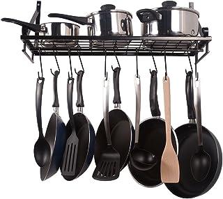 Estante de cocina, estante para ollas en la pared, con 10 ganchos adjuntos, de color negro