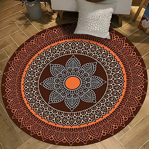 SXcarpet Boden Stuhl Matte Garderobe Teppiche Perser und Teppiche Mandala Yoga Matte Rutschfester Runder Teppich für Wohnzimmer,Color,100CM