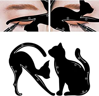 endosy 2pcs/pack Cat Line Stencils Cards Eye Makeup Tool Eyeliner Eyeshadow Template Shaper Model Black