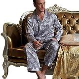 Amybria De alta calidad para hombre seda pijamas Pantalones dos piezas, 2 colores marrón small