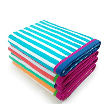 Kaufman - Velour Racing Stripe Towel 4-Pack - 32in X 62in