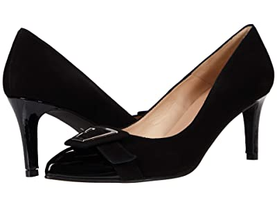 French Sole Giggle (Black Suede/Patent) Women